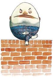 Humpty Dumpty. Aquarell, 2011. Eigens für die Nonsense-Ausstellung im Museum Strauhof gemalt. Humpty Dumpty aus: Lewis Carroll, Through the Looking-Glass, and What Alice Found There. (Bild: Nikolaus Heidelbach)
