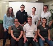 Melanie Obrist; Stefan Oberholzer; Janick Jaggi und Remo Jäger, neuer Präsident (hinten von links). Yvonne Brändle (bisher), Simon Böni (bisher) und Michaela Koch (bisher) (vorne von links). (Bild: PD)