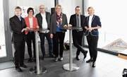 Das OK des Wirtschaftsforums Toggenburg 2018 (von links): Patrick Brändle, Marianne Oberhänsli, Simon Walther, Claudia Frei (OK-Präsidentin), Christian Hildebrand sowie Christine Bolt. Nicht auf dem Bild sind Kilian Looser und Christian Vetsch. (Bild: Urs M. Hemm)