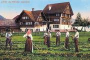 Die Bleiche in Appenzell auf einer Postkarte aus dem Jahr 1928. Auf der Wiese wurden die Leinentücher ausgebreitet und gebleicht. (Bild: pd)