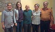 Von links: Pater Justin Mat, Pastoralassistentin Ramona Casanova, Jubilar Leo Bühler, Ruth Widmer und Präsident Philipp Hautle. (Bild: pd)
