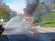 Der Campingbus brannte vollständig aus. (Bild: KAPO)
