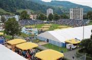 Die Schwingarena auf der Grüenau war nach 1993 zum zweitenmal Austragungsort eines Nordostschweizer Schwingfestes. (Bilder: Beat Lanzendorfer)