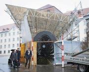 Der Eingang zum Pfalzkeller ist seit Anfang Woche eingerüstet. (Bild: Ralph Ribi)