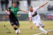 Spielt Nicolas Lüchinger (rechts) schon bald wieder für seinen Stammklub St.Gallen? (Bild: LAURENT GILLIERON (KEYSTONE))