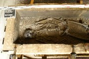 Sarkophag nach der Öffnung. Das Skelett blieb während 1350 ungestört im Sarg, eingebettet in Sediment, die sich gebildet haben. (Bild: Amt für Archäologie)