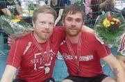 Das Duo Timo Reichen (links) und Lukas Schönenberger holte an der Schweizer Meisterschaft in Schöftland die Silbermedaille. (Bild: PD)