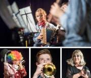 Kunterbunt: Ländler mit Potz Musig, Clown Samuel Ruiz, Trompeter Mathias Hasler und Christine Heri als Hildegard Knef. (Bilder: Michel Canonica)