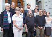 Fridolin Weder (katholische Kirche), Peter Baumgartner (Pro Senectute), Silvia Frick (Netzwerk 60+, Lichtensteig), Susanne Weber (Gemeinderätin), Roland Walther (Präsident Genossenschaft), Mathias Müller (Stadtpräsident), Remo Schweizer (evang.-ref. Kirche), Trudy Fischer (Spitex), Markus Brändle (Heimleiter), Sabina Ruff (Beisitzerin), Susanna Fassbind (Kiss Schweiz). (Bild: PD)