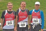 Topresultate für (von links) Felix Benz (2./M55), Roland Segmüller (3./M55) und Berni Litscher (6./M60). (Bilder: alphafoto.com)