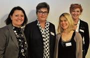 Susan Christen Meier von der SHS St. Gallen (Zweite von links) stellte das Team der neuen Sprachheilschule Rheintal vor: (v. l.) Divina Suarez (Schulleitung), Mirjam Lang (Schulische Heilpädagogin, Klassenlehrerin) und Brigitte Weissmann (Sekretariat). (Bild: Andrea C. Plüss)