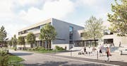 Das neue Schulhaus im Modell. Rechts eine Teilansicht der Mehrzweckhalle. (Bild: Visualisierung: PD)