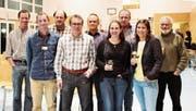 Hinten von links: Jakob Wickli, Felix Wyss, Thomas Grob, Hans Grob, Max Bretscher. Vorne von links: Andy Wittenwiler, Philipp Mattle, Patrizia Egloff, Maja Bretscher (Moderatorin). (Bild: Martin Knoepfel)