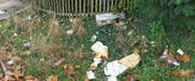 Die wenigen Schritte bis zum nächsten Abfalleimer waren wohl zu weit: Der Abfall auf der Wiese bei der Socar-Tankstelle an der Zürcherstrasse. (Bild:PD)