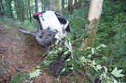 Das Auto erlitt beim Unfall Totalschaden. (Bild: Kapo AR)