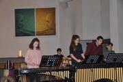 Das Mallet-Ensemble Xylorimba der Musikschule Toggenburg unter der Leitung von Martin Flüge umrahmte die Bürgerversammlung der Schulgemeinde Wattwil-Krinau. (Bild: Sabine Schmid)
