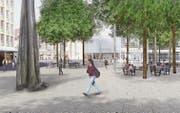 So soll der Kornhausplatz nach Abschluss der Neugestaltung im Jahr 2018 aussehen. (Bild: Visualisierung: PD/Stadt St. Gallen)