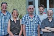 Markus Gsell (v. l.) übergibt sein Kassieramt an Mirjam Knöpfler, es gratulieren Rene Müller, Thomas Blank und Norbert Bühler. (Bild: pd)