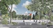 Der neugestaltete Spelteriniplatz mit Wasserspiel und Platz für Spaziergänger und Kinder. (Bild: Visualisierungen: IG Museumsquartier/Regula Geisser)