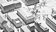 Das Modell zum Siegerprojekt mit Leonhardspärklein, dem zu sanierenden Schulhaus St. Leonhard und dem Neubau an der Davidstrasse. (Bild: Hochbauamt der Stadt St. Gallen)
