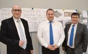 Sie sind die drei wichtigsten Männer in der Führung der Volksschule Oberuzwil: Leiter Gallus Rieger, Schulratspräsident Roland Waltert und Gemeindepräsident Cornel Egger. (Bild: Urs Bänziger)