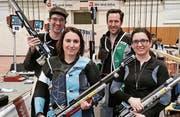 Die Luftgewehrgruppe Altstätten mit (v. l.) Andreas Widmer, Manuela Eugster, Lars Färber und Ramona Eugster zeigte am wichtigsten Wettkampf des Jahres ihre beste Leistung. (Bild: pd)