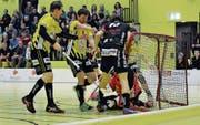Die Gators, im Bild Philipp Heule (links) und Martin Ostransky, versuchten alles – der Ball wollte aber nicht oft genug ins Tor. (Bild: Yves Solenthaler)