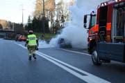 Die örtliche Feuerwehr war rasch an der Unfallstelle und konnte das Feuer löschen. (Bild: Kapo SG)