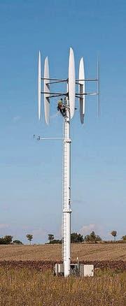 Eine vertikale Windkraftanlage von Envergate. (Bild: pd)