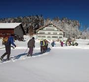 Mit Schneeschuhen an den Füssen und begleitet von einer strahlenden Wintersonne zogen die Läufer über frisch verschneite Hügel und Wege. (Bild: PD)