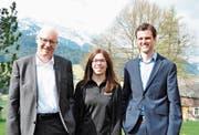 Ein Trio steht künftig an der Spitze von Toggenburg Tourismus (von links): Präsident Max Nadig, Tanja Loher und der neue, im Teilpensum tätige Geschäftsführer Christian Gressbach. (Bild: Sabine Schmid)
