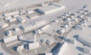 Oben rechts: Das Gebiet «Geren/Oberwisen» in Lenggenwil mit dem neuen Gebäudekomplex der Firma Gebrüder Eisenring AG. (Bild: Modell: PD)
