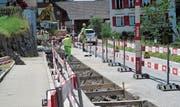 Im Weiler Lebau haben Verkehrsteilnehmer Einschränkungen in Kauf zu nehmen. (Bild: Peter Eggenberger)