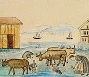 Das Museum ist im Besitz einer Erinnerungstafel, die im Ausschnitt zeigt, wie die Menschen aus Hunger gemeinsam mit dem Vieh grasten. (Bild: pd)