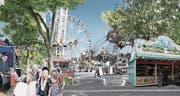 Prater-Atmosphäre: Der Spelteriniplatz mit dem Grüngürtel rund um den Jahrmarkt.