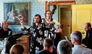 Carlo Lorenzi (Schlagzeug), Chiara Izzi (Gesang), Rosario Bonaccorso (Bass) und Claude Diallo (Piano) verzauberten im barocken Musiksaal das Publikum mit italienischen Jazz-Harmonien. (Bild: Max Pflüger)