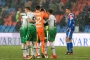 Grosse Freude bei den St.Gallern nach dem Sieg gegen den FC Basel. (Bild: Keystone)