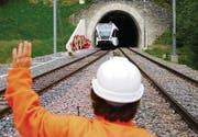 Just am Ende des Bruggwaldtunnels wird die SOB-Strecke zweigleisig.