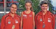 Dominique Good (l.), Janina Gebs und Eva Ulmann vom STV Oberriet-Eichenwies sorgten auf nationaler Ebene für Schlagzeilen. (Bild: pd)