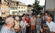 Ein neuer Blick auf den Gemüsemarkt: Die Staablueme-Ausstellung bringt einen unter anderem auf die Terrasse des «Soirée». (Bild: Max Tinner)