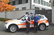 Polizeihauptmeister Martin Mayer aus Deutschland (links) und Regionenchef Hinterland, Adjutant Max Nef. (Bild: Kapo AR)