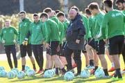 Aus und vorbei: Marco Otero (Bildmitte) hat beim FC St.Gallen nichts mehr zu sagen. (Bild: Andy Mueller/freshfocus (freshfocus))