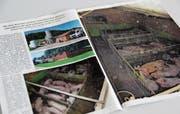 Das Magazin «VgT-Nachrichten» des Tierschützers Erwin Kessler ist auch in Toggenburger Briefkästen gelandet. Auf den Bildern sind laut Kessler Zustände zu sehen, unter denen die Schweine in diesem Bütschwiler Betrieb «ein Leben lang leiden». (Bild: Martina Signer)