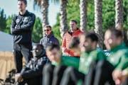 Beobachten unter spanischer Sonne das Training: St.Gallens Sportchef Alain Sutter und Verwaltungsrat Stefan Wolf. (Bild: Andy Müller/Freshfocus)