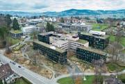 Der ausgebaute Hauptsitz der Helvetia an der Dufourstrasse. (Bild: Hanspeter Schiess, Benjamin Manser (St. Gallen, 30. Januar 2018))