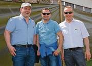 Drei Sportbegeisterte: Martin Kurmann, Silvan Breitenmoser und Christian Tschumper (von links). (Bild: Beat Lanzendorfer)