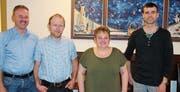 Präsdient Martin Widmer sowie die Neumitglieder Ernst Raschle, Hedy Schneider und Toni Brändle (von links). (Bild: PD)