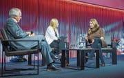 Am Schweizer KMU-Tag diskutierten Wilhelm Schmid, Christa Rigozzi und Bea Knecht (von links). (Bilder: Ralph Ribi (St. Gallen, 28. Oktober 2016))