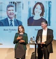 Kopf-an-Kopf-Rennen: Sonja Lüthi und Boris Tschirky am «Tagblatt»-Podium zum Auftakt des Wahlkampfs nach den Herbstferien. (Bilder: Hanspeter Schiess (30. Oktober 2017))