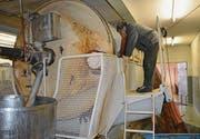 Arthur Fraefel wirft einen Blick in sein «Baby», die Bucher-Obstpresse, die seit 1971 in der Mosterei in Betrieb ist.